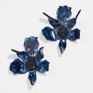 NWOT Anthro Lele Sadoughi Navy Lily Earrings